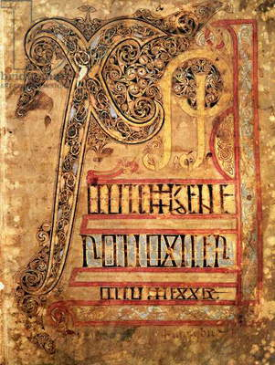 Initial page from the Lichfield Gospels, c.720 (vellum)