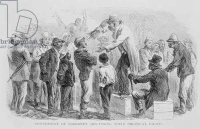 Convention of Freedmen Discussing their Political Rights Georgia, 1865, from 'The South' by Trowbridge (engraving) (b&w photo)