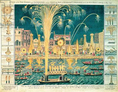 A View of the Fireworks and Illuminations at his grace the Duke of Richmond's at Whitehall and on the River Thames, on Monday 15th May 1749 (coloured engraving) (see also 73957)