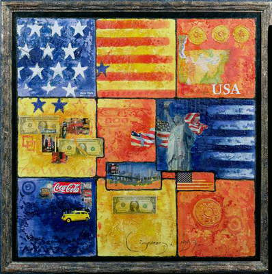 Stars and Stripes Puzzle, 1997 (oil on panel)