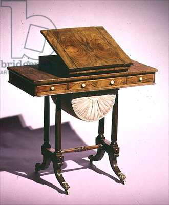 Work table with reading stand and backgammon board, mid 19th century (wood)
