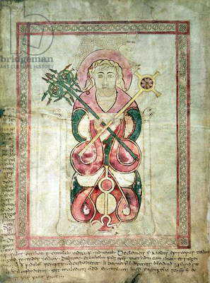 St. Luke and his winged calf, title page to St. Luke's Gospel, from the Lichfield Gospels, c.720 (vellum)