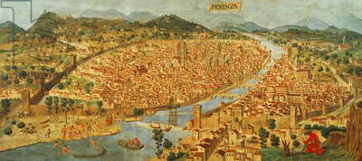 The 'Carta della Catena' showing a panorama of Florence, 1490