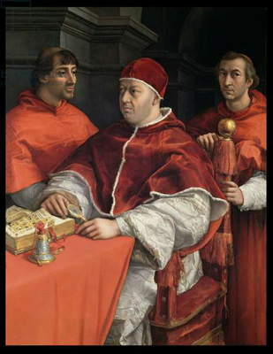 Portraits of Leo X (1475-1521) Cardinal Luigi de' Rossi and Giulio de Medici (1478-1534) 1518 (oil on panel)