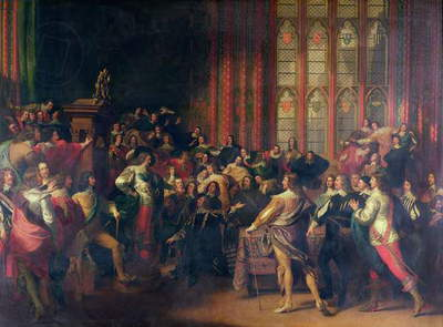 Charles I (1600-49) Demanding the Five Members in the House of Commons in 1642 (oil on canvas)