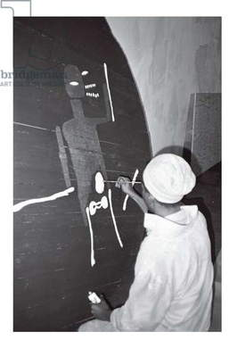 Jean-Michel Basquiat painting 'Record', Area, New York, 1985 (b/w photo)