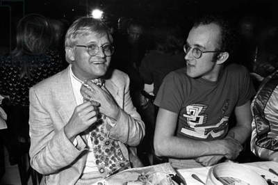 David Hockney and Keith Haring at Mr. Chow, New York, 1985 (b/w photo)
