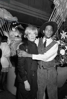 Jean-Michel Basquiat and Andy Warhol, Area, New York, 1984 (b/w photo)