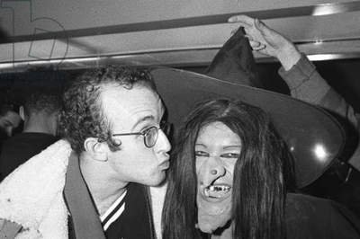 Keith Haring kissing a witch, 1980s (b/w photo)