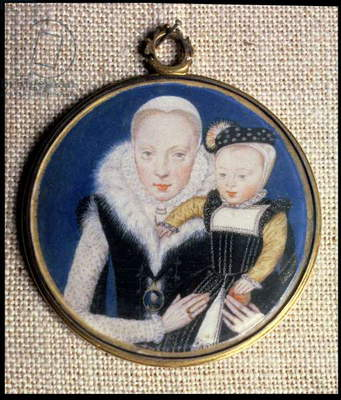 Portrait miniature of Lady Katherine Seymour, nee Grey (c.1538-68) Countess of Hertford, holding her infant son and wearing her husband's miniature, c.1562