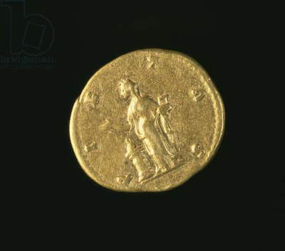 Aureus (reverse) of Lucilla, daughter of Marcus Aurelius (AD 161-AD 180) depicting Pietas standing left sacrificing over altar. Inscription: PIETAS (gold) (for obverse see 119146)