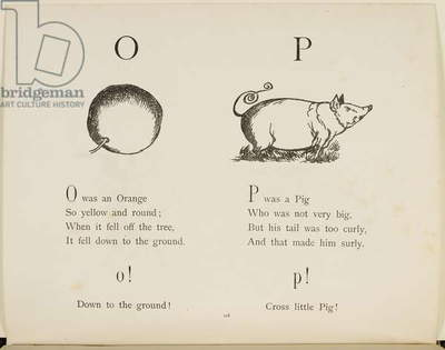 Orange and pig Illustrations and verses from Nonsense Alphabets drawn and written by Edward Lear.