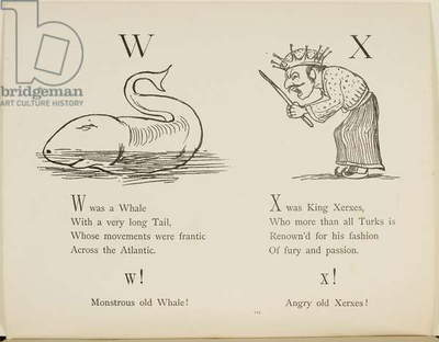 Whale and King Xerxes Illustrations and verses from Nonsense Alphabets drawn and written by Edward Lear.