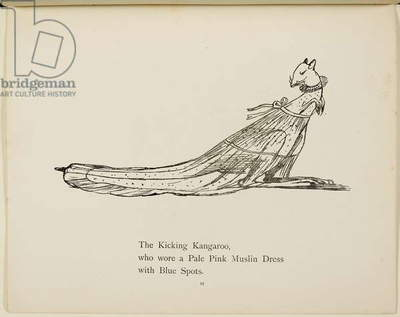 kangaroo wearing a dress From a collection of poems and songs by Edward Lear. Illustration. Animals.