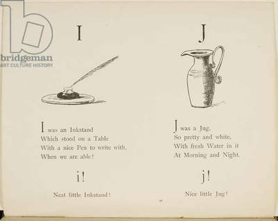 Inkstand and jug Illustrations and verses from Nonsense Alphabets drawn and written by Edward Lear.