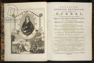 Frontispiece and Title Page to 'Culpeper's English Physician; and Complete Herbal' by Nicholas Culpeper, 1789 (engraving)