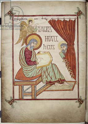 Cotton Nero D. IV, f.25v St. Matthew, writing, with his symbol, from the Lindisfarne Gospels, 710-721 (vellum)