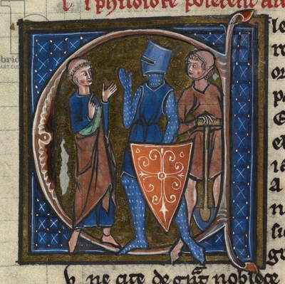 Ms Sloane 2435, f.85 'Cleric, Knight and Workman representing the three classes, illustration from 'Li Livres dou Sante' (vellum)