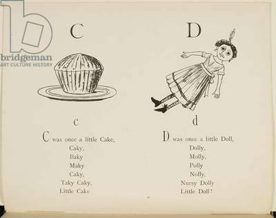 Cake and doll Illustrations and verses from Nonsense Alphabets drawn and written by Edward Lear.