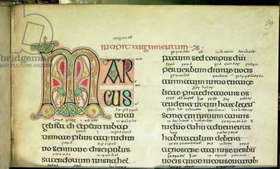 Cotton Ms Nero D.IV, f.90 Preface to the Gospel of St. Mark, from the Lindisfarne Gospels, 710-721 (vellum)