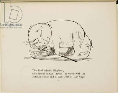Elephant in row boat From a collection of poems and songs by Edward Lear. Illustration. Animals.