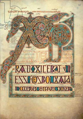 Cotton Nero D IV, f.29 Second incipit page to the Gospel of St. Matthew, from the Lindisfarne Gospels, 720-721 (vellum)