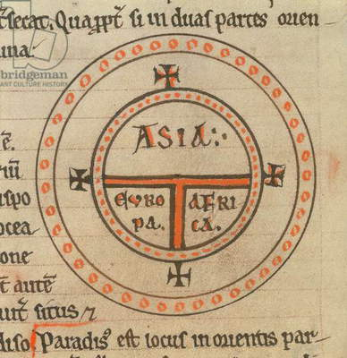 Royal 12 F.IV, f.135v Diagrammatic world map, c.1175 (vellum)