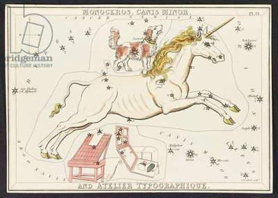 Maps C.44.A.42 Monoceros. Canis Minor. And Atelier Typographique, from 'Urania's Mirror; or, a View of the heavens. [A box of 32 cards.]' by Jehoshaphat Aspin, 1834 (colour litho)