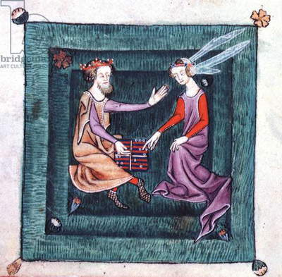 Add 42130 fol.76v A King and Lady seated in a garden, playing a board game resembling backgammon, from the Luttrell Psalter, begun prior to 1340 for Sir Geoffrey Luttrell (vellum)