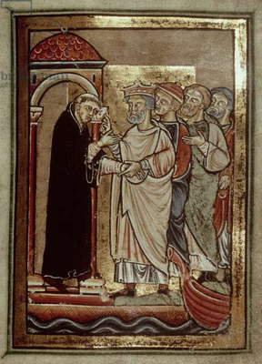 Add 39943 f.51 King Siegfried visits St. Cuthbert (635-687) and entreats him to accept the bishopric of Lindisfarne, from 'Life and Miracles of St. Cuthbert' by Bede, Latin (Durham) (vellum)