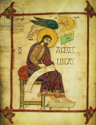 Cott Nero DIV f.137v St. Luke with his symbol, from the Lindisfarne Gospels, 710-721 (vellum)