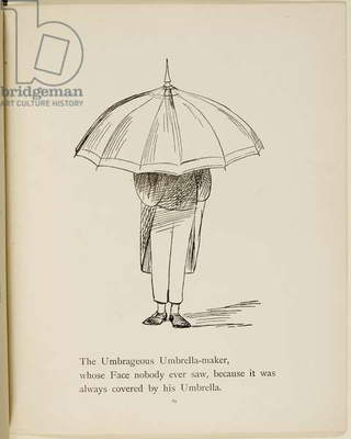 Man holding umbrella From a collection of poems and songs by Edward Lear. Illustration. Animals.
