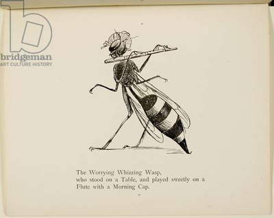 Wasp playing the flute From a collection of poems and songs by Edward Lear. Illustration. Animals.