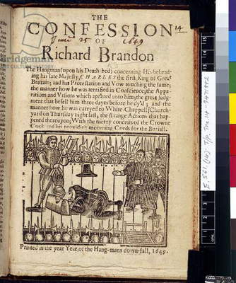 The execution of King Charles I (1600-49) by Richard Brandon, frontispiece to 'The Confession of Richard Brandon the Hangman' published London 1649 (woodcut)