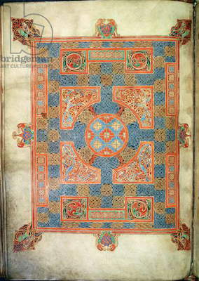Cott Nero D. IV, f.94v Carpet page opening the Gospel of St. Mark, from the Lindifarne Gospels, 710-721 (vellum)