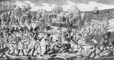 Slaves revolt in Saint Domingue on 23 August 1791 (engraving)