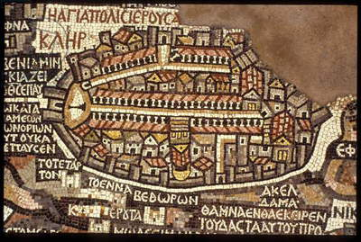 Map of Jerusalem, detail from the Madaba Mosaic Map (photo)