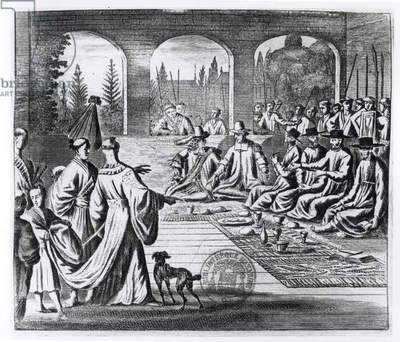 Jesuits with Dutch and Portuguese merchants at the court of the Japanese Emperor, illustration from 'A Memorable Embassy to the Emperor of Japan' by Arnold Montanus, published in London 1670 (engraving) (b/w photo)