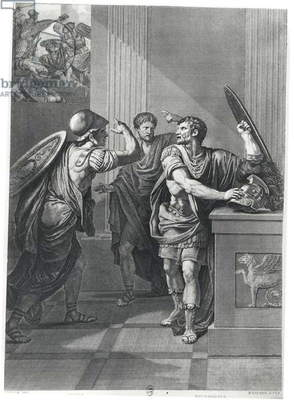 Arcan and Mithridate, illustration from 'Mithridate' by Jean Racine (1639-99) engraved by Massard (engraving) (b/w photo)
