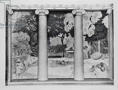 Pierre Bonnard's 'On the Mediterranean' in its original location in Ivan Morozov's house, (b/w photo)
