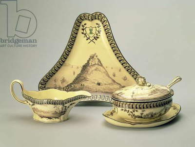 Covered bowl and spoon, triangular dish and sauceboat, from the 'Green Frog' service for the Etruria factory, Staffordshire, 1773-74 (creamware)