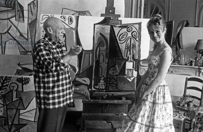 Brigitte Bardot and Pablo Picasso during Cannes festival