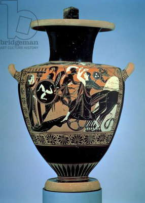 Attic black-figure hydria (water jug) Athens, Archaic Period, c.520-521 BC (pottery)