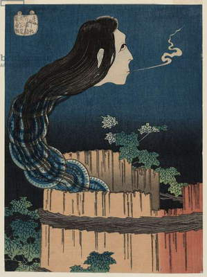 The Mansion of the Plates (Sara yashiki), from the series One Hundred Ghost Stories (Hyaku monogatari), c.1831-32 (colour woodblock print)