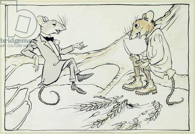 The Town Mouse and the Country Mouse, illustration from 'Aesop's Fables', published 1912 (pen & ink with w/c on paper)
