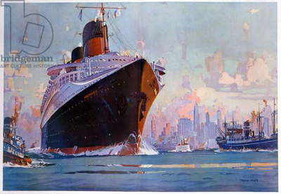 Transport. Marine. The transatlantic Le Normandie in New York. Illustration by Marin Marie, France, c.1935 (print)