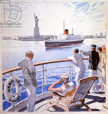 Transport. Marine. Arrival of the transatlantic Le Normandie in the New York's harbour. Illustration by Raoul du Gardier, 1935 (print)