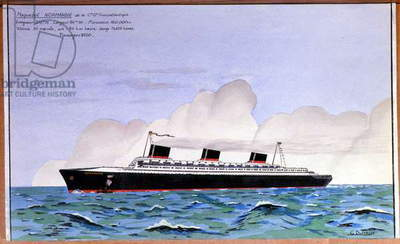 Science. Marine. The transatlantic le Normandie. Gouache by G. Dufresse, France, c.1935 (print)