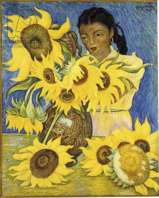 Girl with Sunflowers, 1941 (oil on masonite)