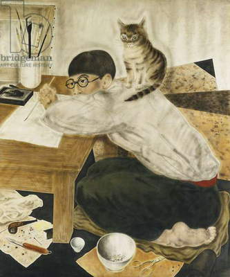 Self-Portrait in the Studio; Autoportrait dans l'Atelier, 1926 (watercolour on silk. Painted in 1926. 72.2 x 60.6cm.)